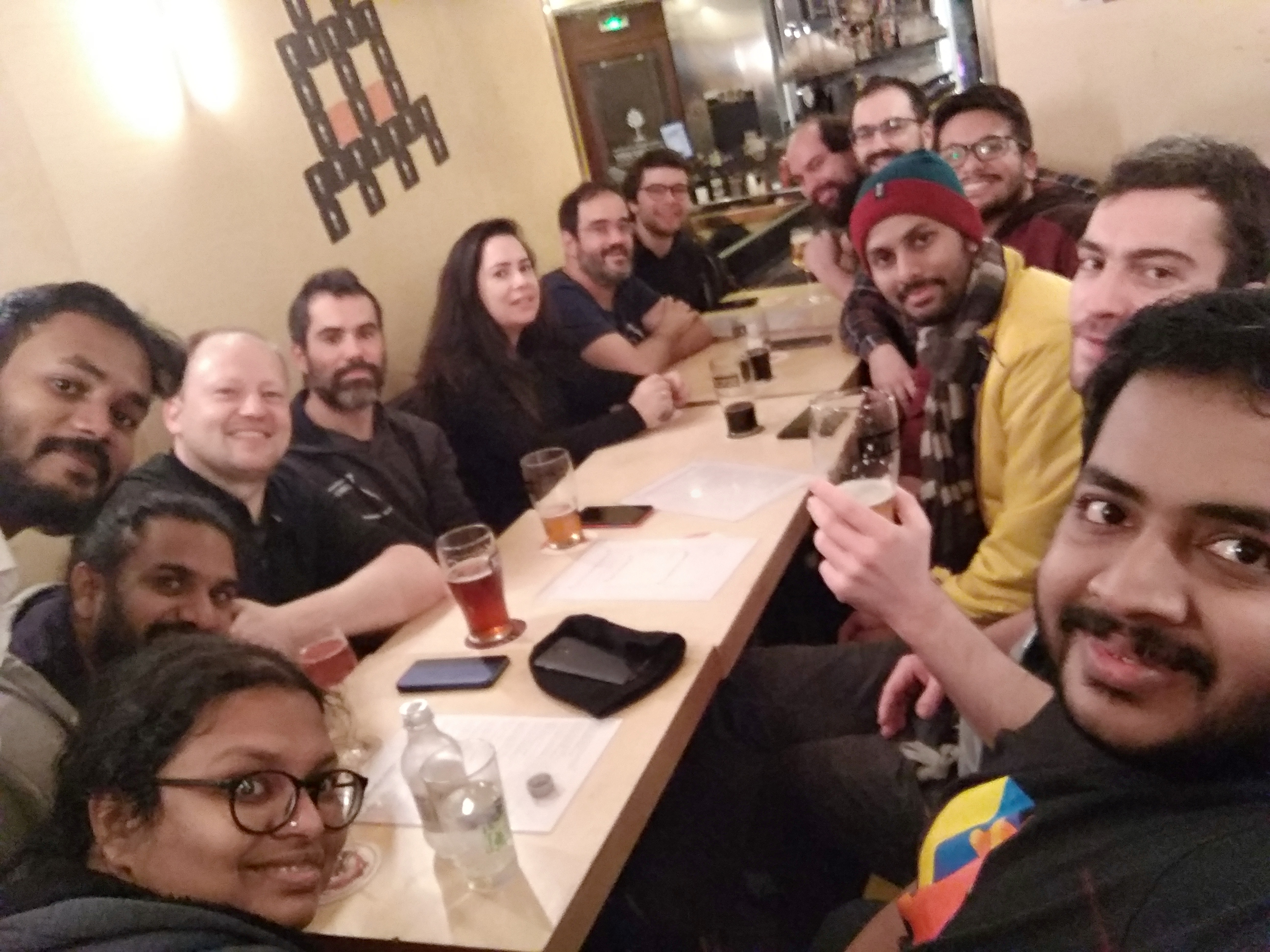 Group photo of the Ruby Team in Brewbarry Bar, Paris